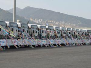 İzmir'in 300 otobüsünün ilk 70'i yola çıktı